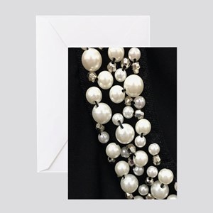 black and white pearl Greeting Cards