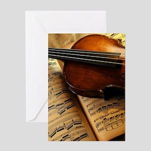 Violin On Music Sheet Greeting Cards