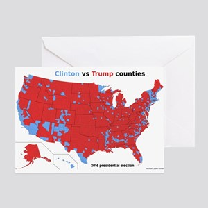 Trump vs Clinton Map Greeting Card