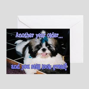 Birthday - Shih-Tzu Puppy Blue Bow Greeting Card