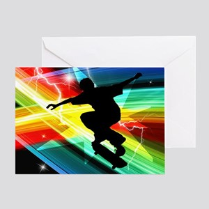 Skateboarder in Criss Cross L Greeting Card