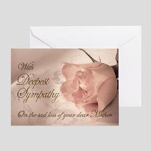Mother, Pink rose sympathy card Greeting Card