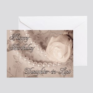 For daughter-in-law, birthday card with pearls Gre