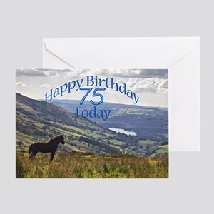 75th Birthday with a horse. Greeting Cards
