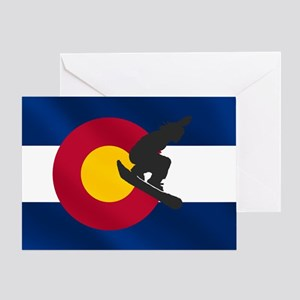 Colorado Snowboard Flag Greeting Cards