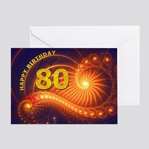 80th Birthday card, swirling lights Greeting Cards