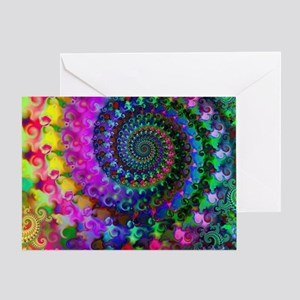 Psychedelic Rainbow Fractal Pattern Greeting Card