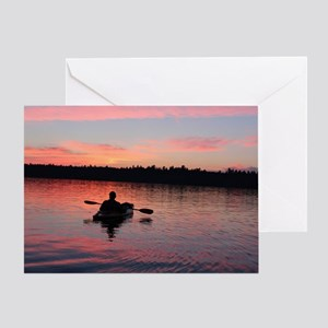 Kayaking at Sunset Greeting Card