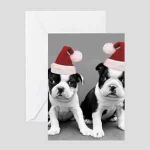 Christma Boston Terriers Greeting Cards