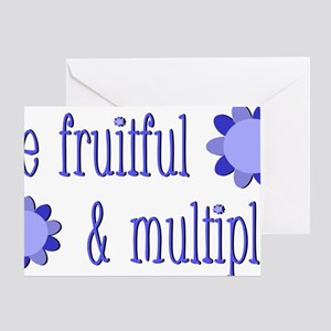 Be fruitful and multiply! blue desig Greeting Card