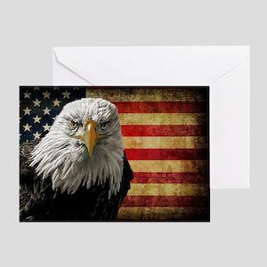 Bald Eagle and Flag Greeting Card