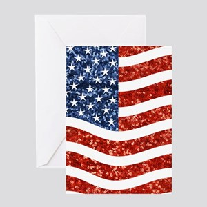 sequin american flag Greeting Cards