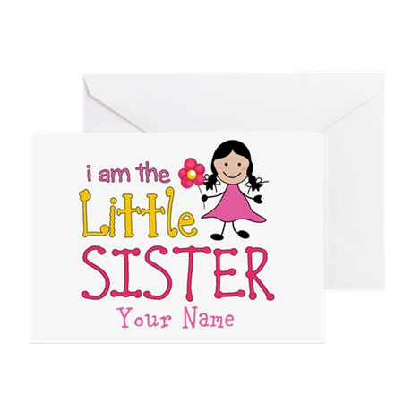 Little Sister Stick Figure Girl Greeting Card