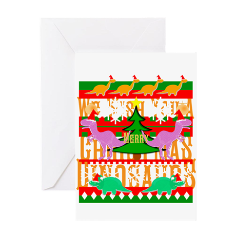 Ugly Christmas Sweater Dinosaurs Greeting Cards