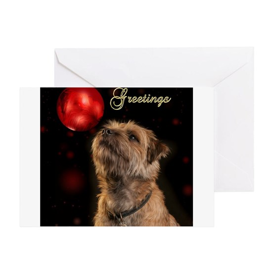 season's greetings with border terrier dog and bau