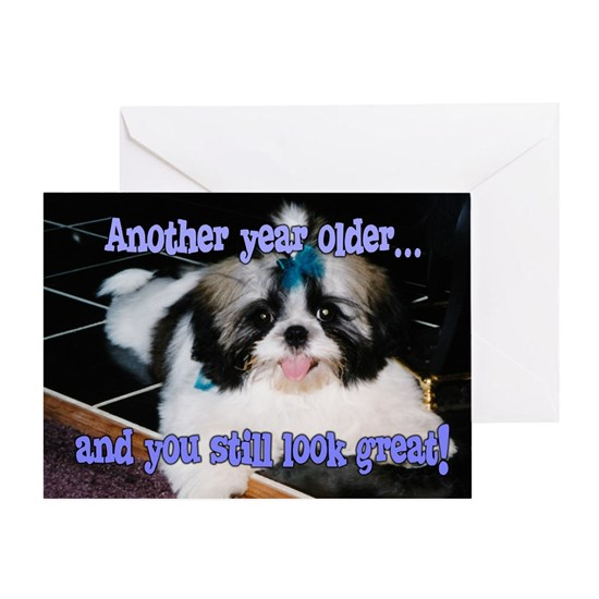 Birthday Humor Shih-Tzu Puppy with Blue Bow