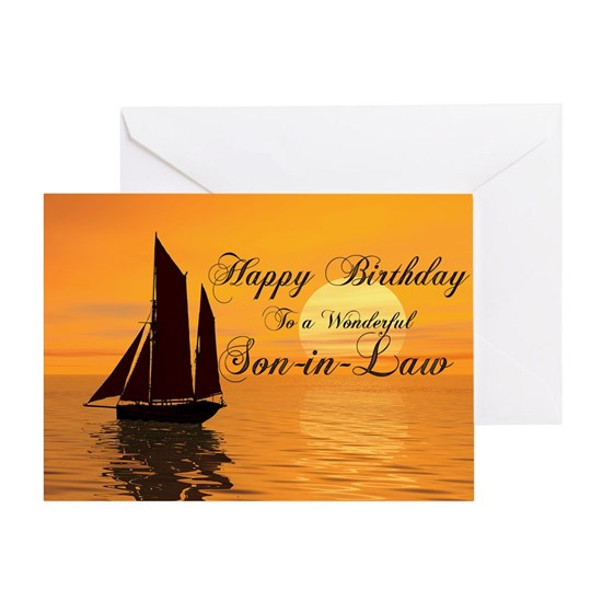 Birthday card for son-in-law with sunset yacht