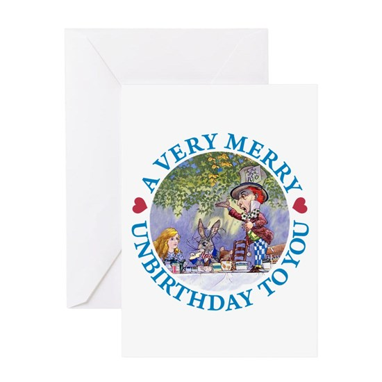 Alice Mad Hatter Unbirthday Blue Copy Greeting Card A Very Merry Unbirthday Greeting Card By Grant Devereaux Cafepress