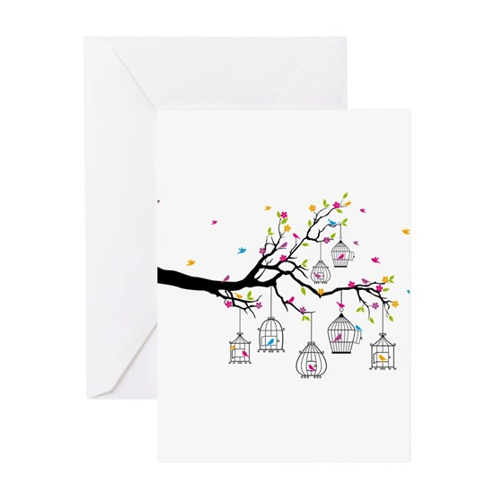 tree branch with birds and birdcages