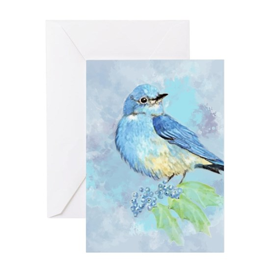 Watercolor Bluebird Blue Bird Art