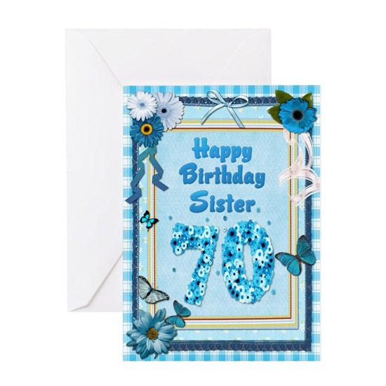 70th Birthday For Sister With A Scrapbooking Theme Greeting Card