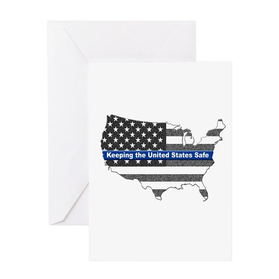 Thin Blue Line Greeting Card Greeting Cards by