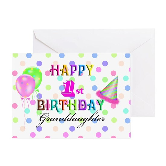 Granddaughter 1st Birthday Greeting Card Happy