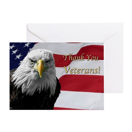 American Bald Eagle on Flag for Veteran's Day
