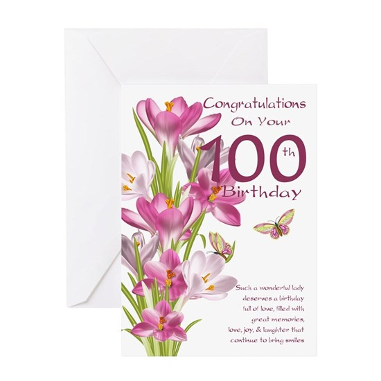 100th Birthday Pink Crocus Greeting Card