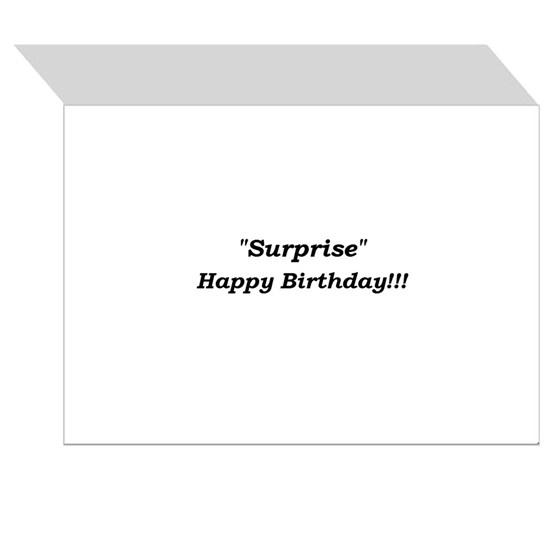 Surprise! Happy Birthday single greeting card