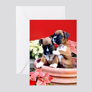 Christmas boxer puppies Greeting Cards (Pk of 20)
