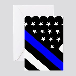 Police Flag: Thin Blue L Greeting Cards (Pk of 20)