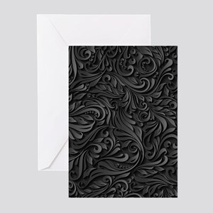 Black Flourish Greeting Cards (Pk of 20)