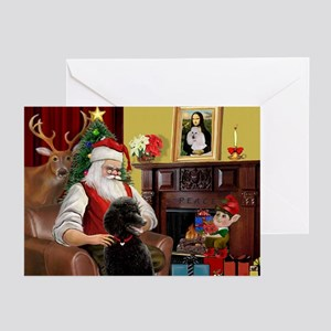 Santa's Black Poodle (ST) Greeting Cards (Pk of 20