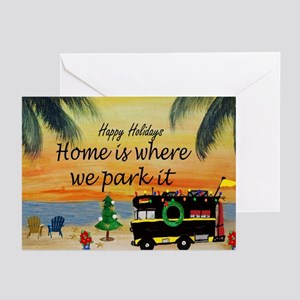 Rv Christmas Holiday By The Sunset Greeting Cards