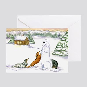 Longhaired Snow Doxies Greeting Cards (Pk of 20)
