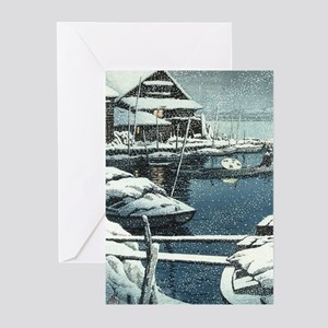 Vintage Japanese Boats in Winter Greeting Cards