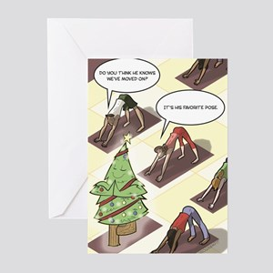 Holiday Yoga Tree Pose Greeting Cards