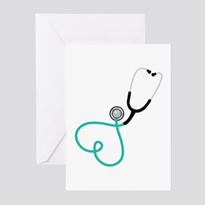 Heart Stethoscope Greeting Cards