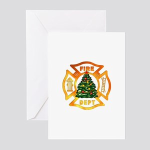 Firefighter Christmas Tr Greeting Cards (Pk of 20)