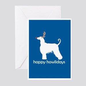"""Afghan Hound """"Happy Howlidays Greeting Cards (Pack"""