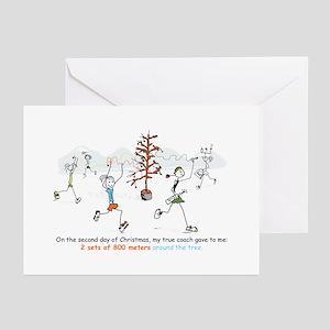 runners_around_christmas_tree1 Greeting Cards