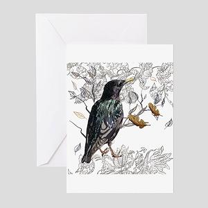 Leaves birds background set Greeting Cards