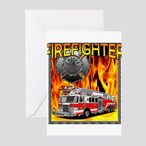 2-FIREFIGHTER 1 DESIGN Greeting Cards