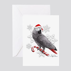 Christmas African Grey Parrot Greeting Cards