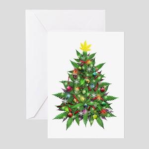 Marijuana Christmas Tree Greeting Cards