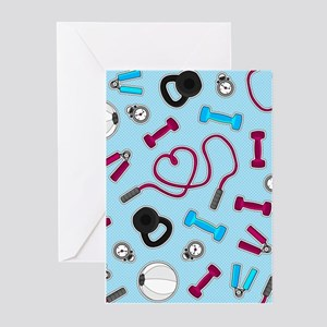 Fitness Love Pattern Blue and Purple Greeting Card