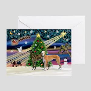 XmasMagic/2Greyhounds Greeting Cards (Pk of 20)