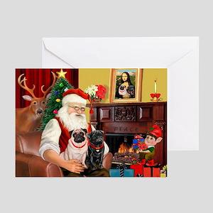 Santa's Two Pugs (P1) Greeting Cards (Pk of 20)