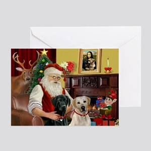 Santa's 2 Labs (Y+B) Greeting Cards (Pk of 20)